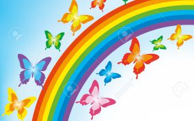 Background with colorful butterflies and rainbow. Spring or summer abstract wallpaper. Vector illustration.
