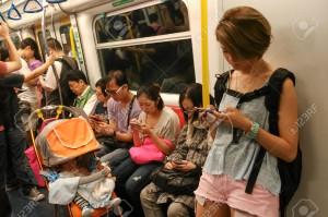 mobiel in trein